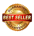 Best Seller golden label with ribbon vector image