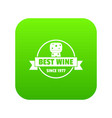 best wine icon green vector image