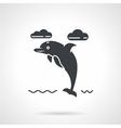 Black silhouette icon for dolphin vector image