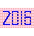 Blue numbers of year 2016 made from triangles vector image vector image
