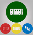 bus simple sign 4 white styles of icon at vector image vector image