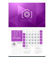 Calendar for 2016 Year October Design Clean vector image