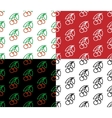 Cherry seamless pattern set vector image vector image