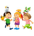 children playing with parrot birds on white vector image