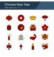 chinese new year icons filled outline design vector image