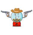 cowboy gumball machine character cartoon vector image
