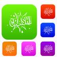 crash explosion set color collection vector image vector image