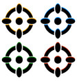 crosshair target mark reticle icons in 4 color vector image