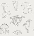 different mushrooms outline seamless pattern hand vector image