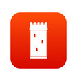 fortress tower icon digital red vector image vector image