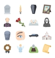 Funeral ceremony set icons in cartoon style Big vector image vector image