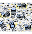 Funny cats seamless background vector image vector image