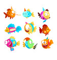 funny fishes set little colorful sea creatures vector image vector image