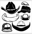 gangster black hats isolated on white vector image vector image