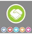 Handshake icon flat web sign symbol logo label vector image vector image
