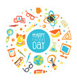 happy teacher day banner template education vector image