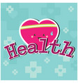 health pink heart blue background image vector image