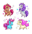 little cute pony set vector image vector image