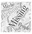 missing persons Word Cloud Concept vector image vector image