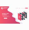 new trendy mobile app website landing page vector image
