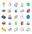pack bitcoin isometric icons vector image