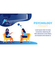 psychologist near woman with handkerchief in hand vector image vector image