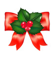 Red Bow With Holly Berry vector image