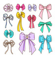 set of color bows for the design vector image vector image