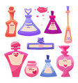 set valentines day items bottles of magic love vector image vector image