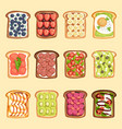 slices sandwich bread and butter toast vector image