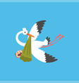 stork delivering a newborn baby flying bird