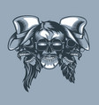 three skulls bearded band monochromic tattoo vector image vector image