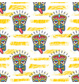 tiki pattern polynesian tikis on a trendy striped vector image vector image