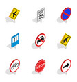 traffic sign icons isometric 3d style vector image vector image