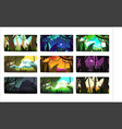 tropical jungle landscapes set in different vector image vector image