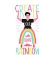 with woman and funny rainbow pants create your vector image