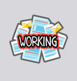 working sticker social media network message vector image