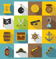 pirate icons set flat style vector image