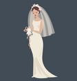 a bride in a wedding dress vector image
