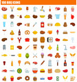 100 bbq icon set flat style vector image