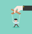 big hand manipulate small puppet of businessman vector image