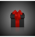 Black square gift box with red ribbon and bow vector image
