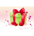 Card for Valentines Day with green box vector image vector image