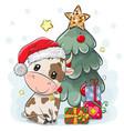 cartoon bull is near christmas tree vector image vector image