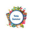 cartoon summer travel elements under circle vector image