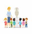 children with teacher in museum - cartoon people vector image vector image