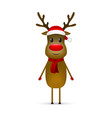 christmas reindeer with a scarf and a santa claus vector image