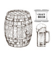 craft beer glass and barrel vector image vector image