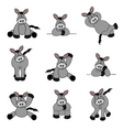 cute donkey set vector image
