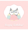 cute owl happy birthday card vector image